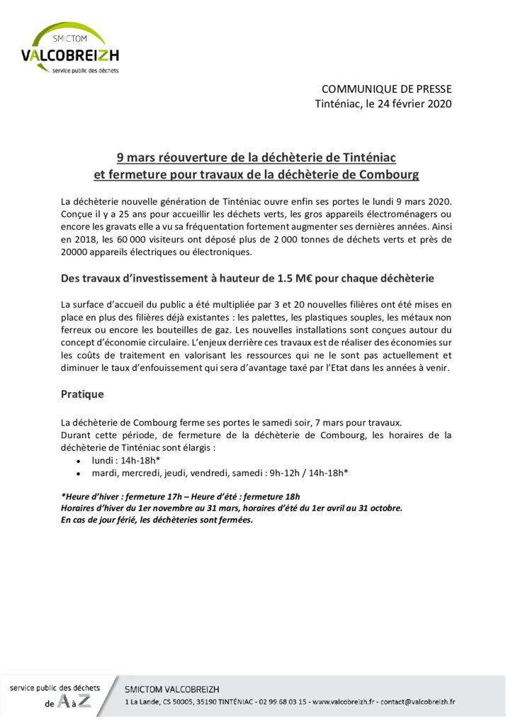 thumbnail of COMMUNIQUE DE PRESSE ouverture de la déchèterie de Tinténiac et fermeture de la déchèterie de Combourg